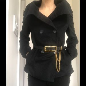 Designer Wool coat with high collar